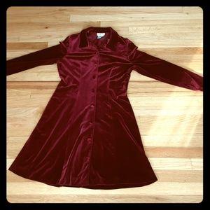 90's or early 2000's Talbots Red Velvet Shirt Dres